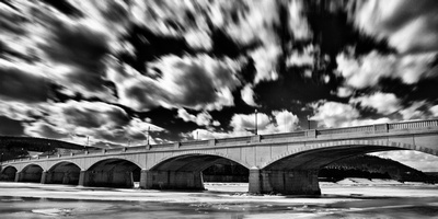 Centerway Bridge in Corning, NY in winter in Corning's Gaffer Disctrict