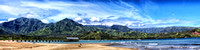 Panorama of Hanalei Bay and the beach in Kauai