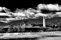 Corning, NY and the Corning, Inc. building and Little Joe Tower in Black and White in Summer
