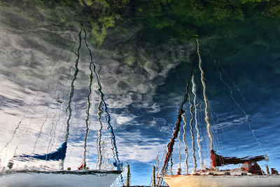 Sailboat reflections in Seneca Harbor in Watkins Glen, NY