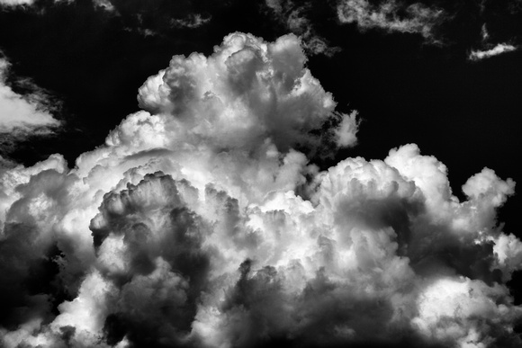 A cloud in black and white high about the finger lakes