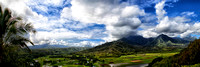 A panorama of the Hanalei Valley from the Hanalei Overlook in Kauai